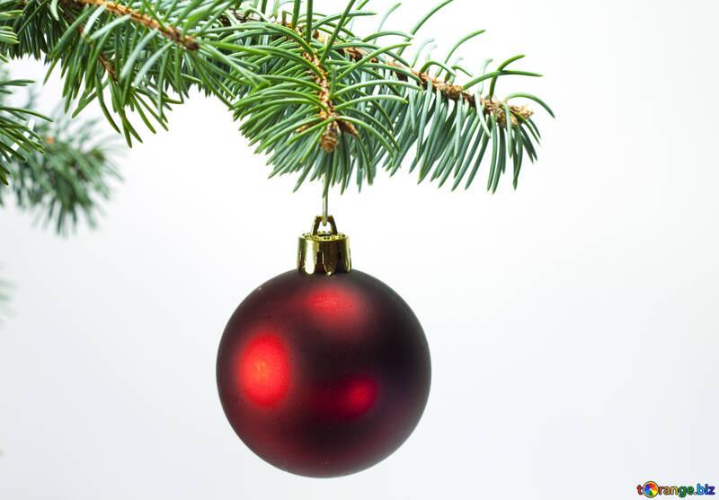 Красный шар на елке. №6790