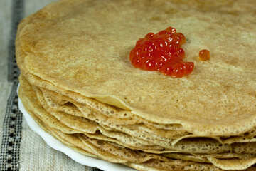 Mucchio pancake Caviale piatto №7734