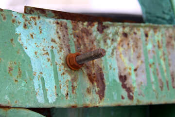 Bolt  and  , rusty nut №7540