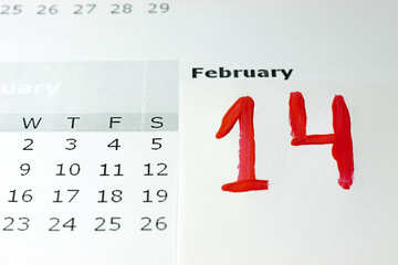 14  February  written  of the  hand  Red  paint   calendar. №7151