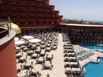 Turkish  Hotel . Clear  Restaurant  of the  the sea. №7021