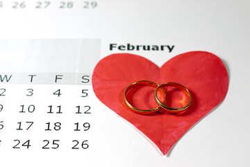 Calendario . Febbraio . Cuore. №7171