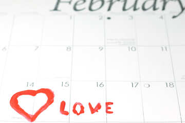 Heart  and  Love   calendar . 14  February. №7165