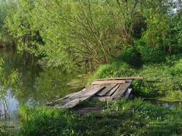Paisaje y Lago maderas. №7421
