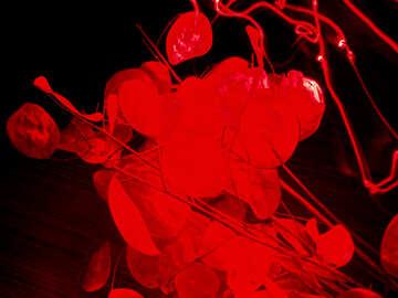 Красный фон. Ткань, листья. №7702
