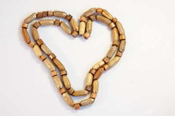 Wooden  Beads   form  Heart №7665