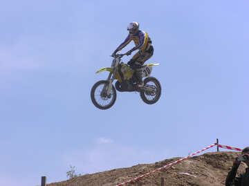 Jump   Jumping  at  motorcycle. №7821
