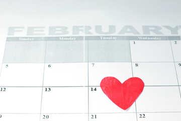 Biglietto di S. Valentino calendario. №7156
