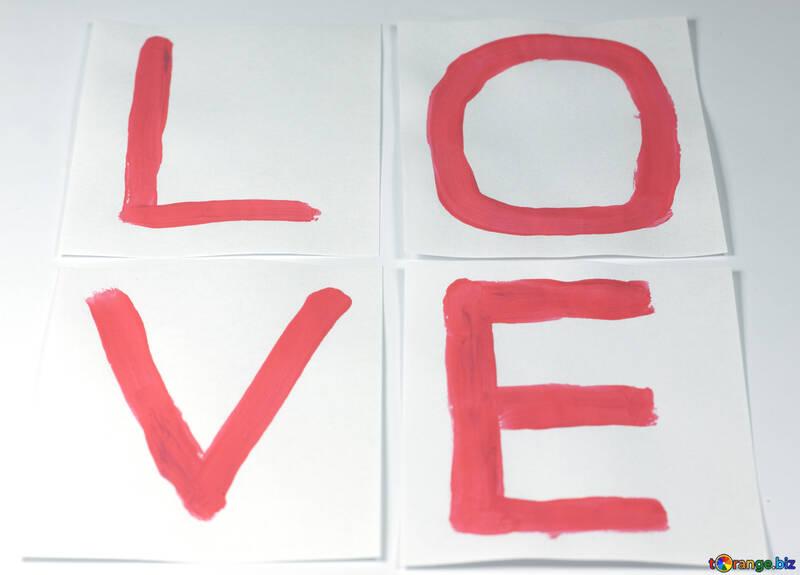 Надпись любовь красной краской. №7163