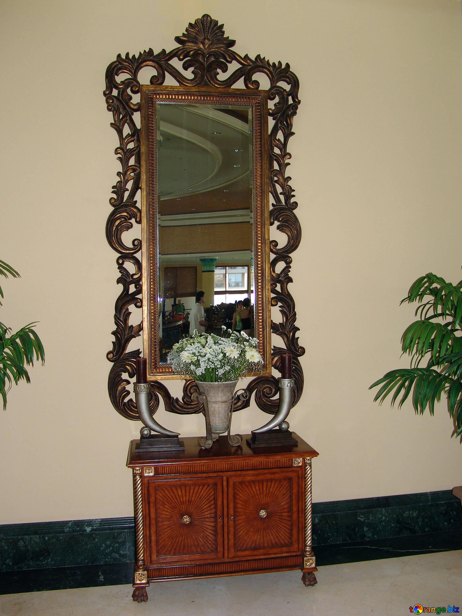 Antique furniture antique mirror  glass № 8319