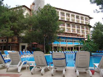 Sunbeds  near  Pool №8332