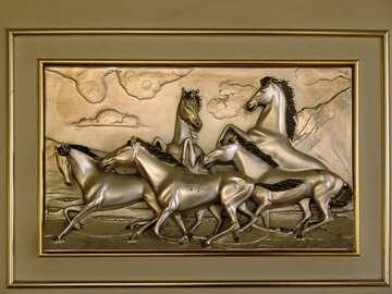 Painting  of the  Metal . herd  horses. №8308