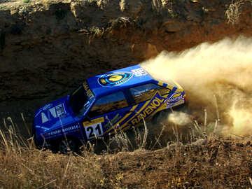 Rally car. Blue. №8098