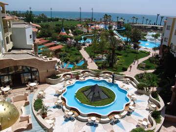 Vacations   Turkey . Green  Territory  Hotel   pools. №8381