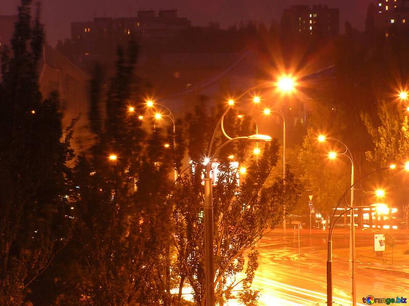 Nacht Stadt nachher Regen. №8080