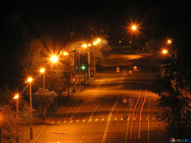 Empty  Night  road . number  lanterns. №8042