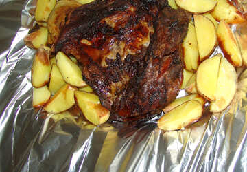 Fleisch  in  Folie  und  Kartoffeln №9171