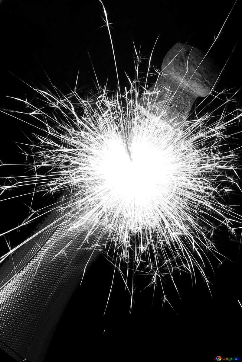 Explosion in bottle of champagne black and  white effect №25610