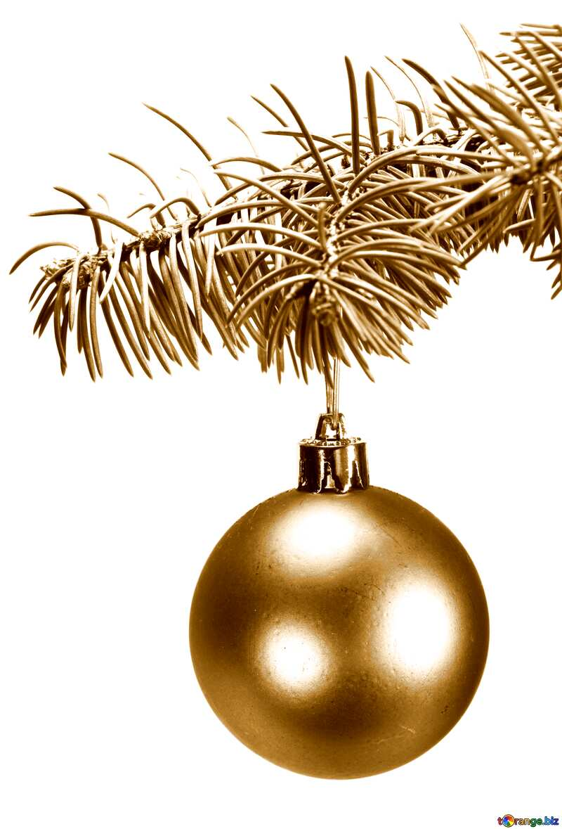 Dull colors. Toys  , Christmas tree ball on ,  branch.. №6791