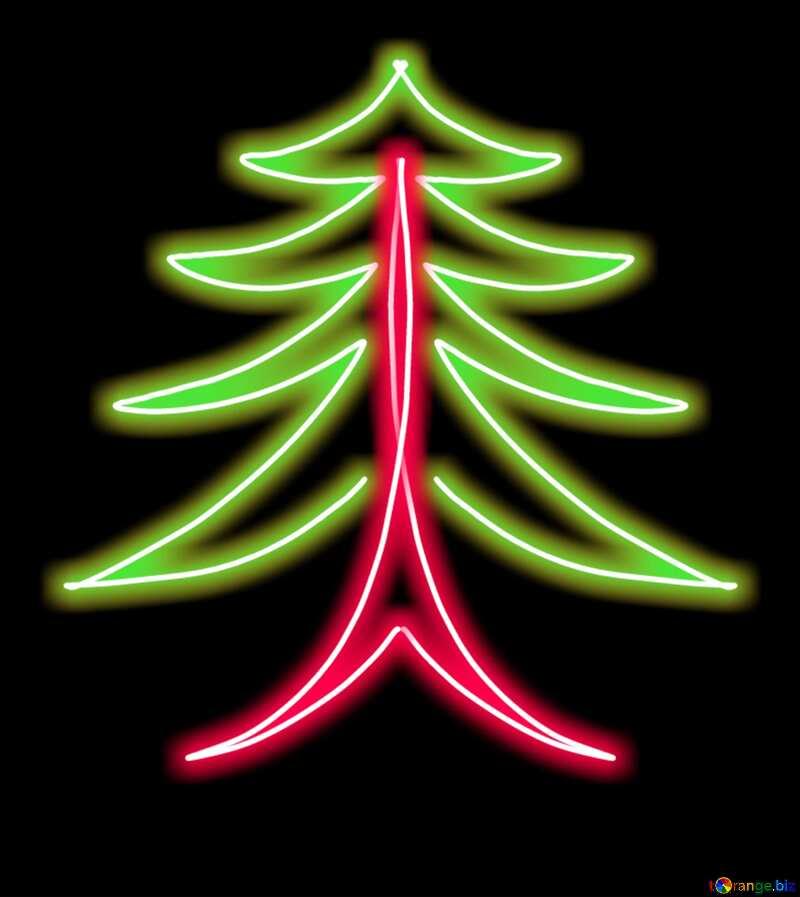 Clipart of stylized Christmas tree glow neon №40648