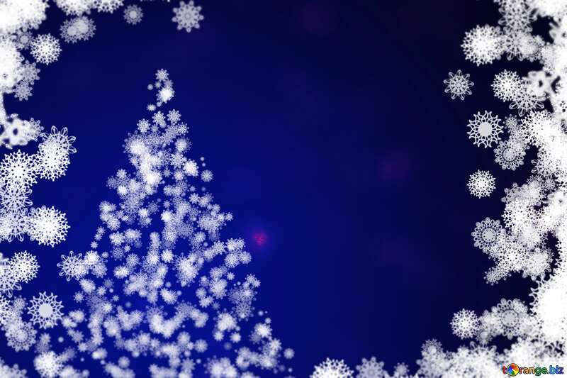 Blue color. Background clipart Christmas tree with snowflakes. №40697