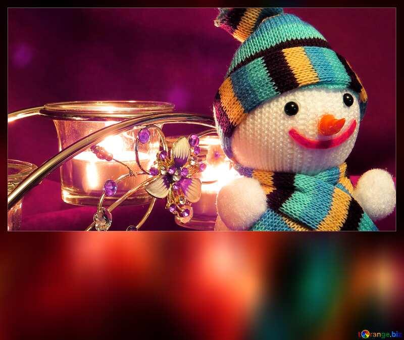 Merry Christmas blank card with  Snowman №15971