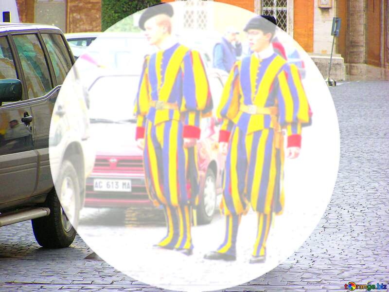 The Swiss Guards at the Vatican pavement template presentation infographic №309