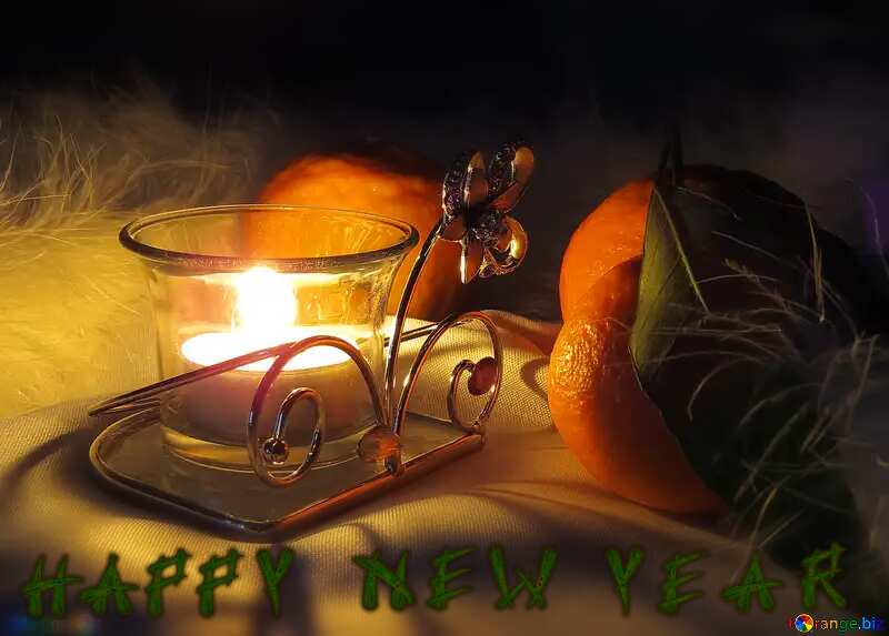 Happy New Year  Winter evening candlelight №15200