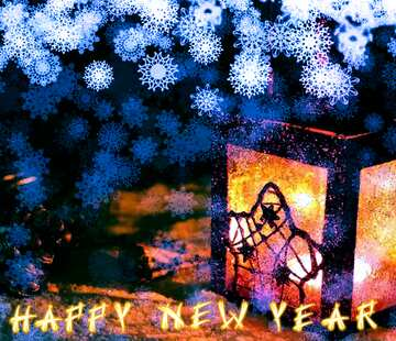 The effect of contrast. Fragment. Card with text Happy New Year.