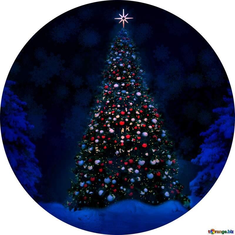 Christmas tree circle frame №40739