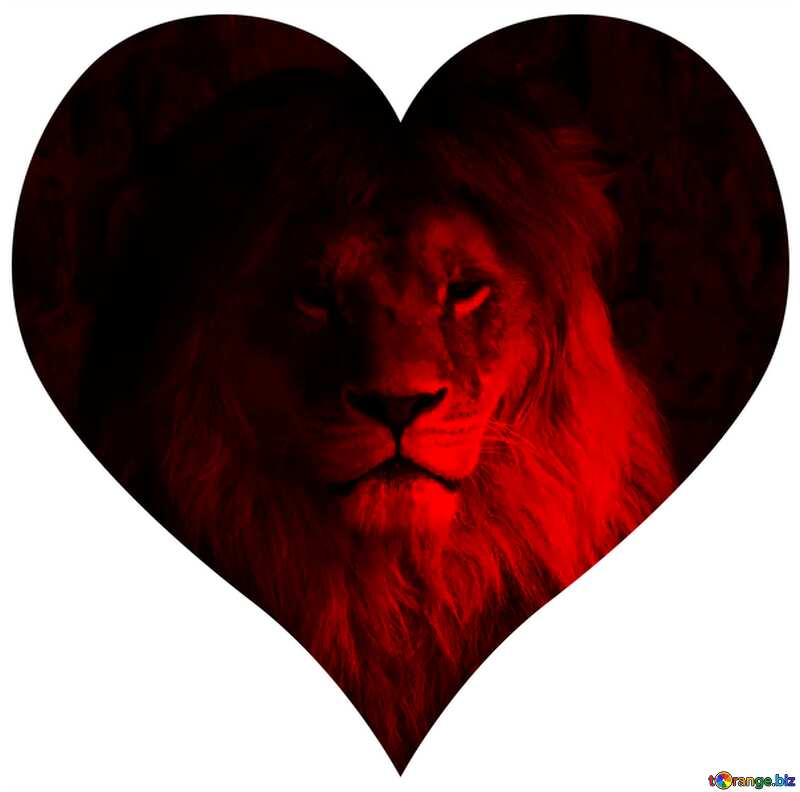 Red lion in heart №44974