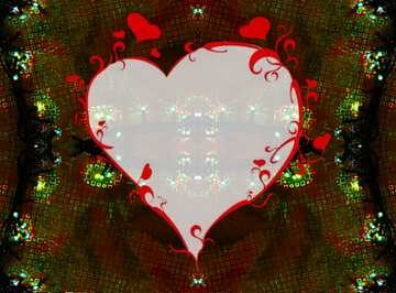 The effect of the mirror. Very Vivid Colours. Fragment. Pattern Heart.