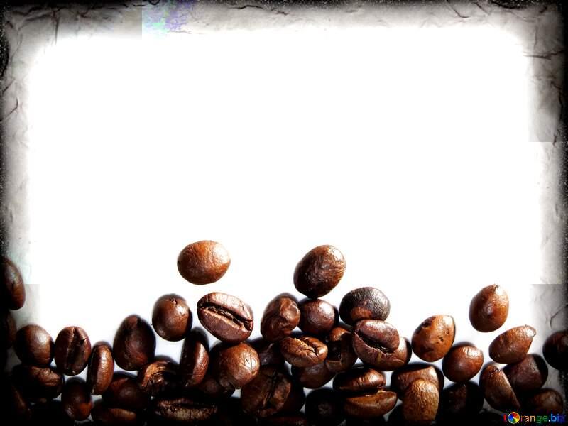 Картинка с местом для текста. Рамка из кофейных зерен на белом фоне. №32291