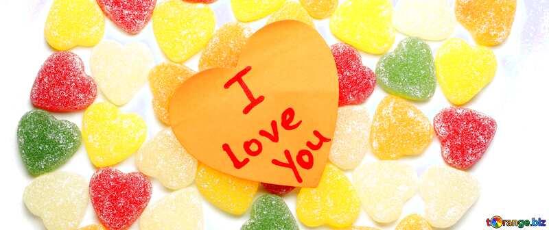 Обложка. Фон я тебя люблю на конфетках. №18767
