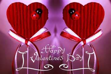 The effect of the mirror. Template. Happy Valentine's Day.