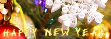 Эффект светлый. Яркие цвета. Фрагмент. Card with text Happy New Year.