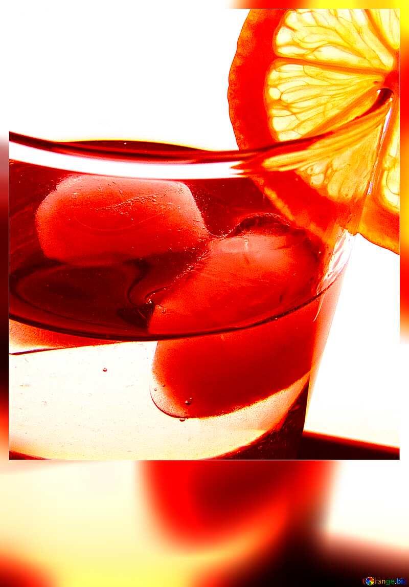 Cocktail with lemon blank card №16129