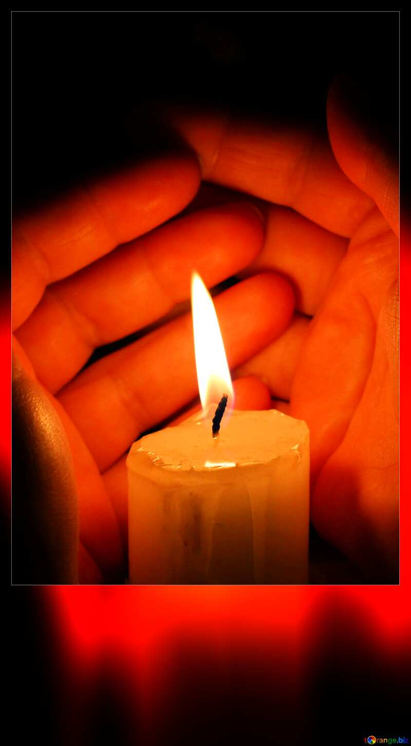 Candle and hands blank card №18119
