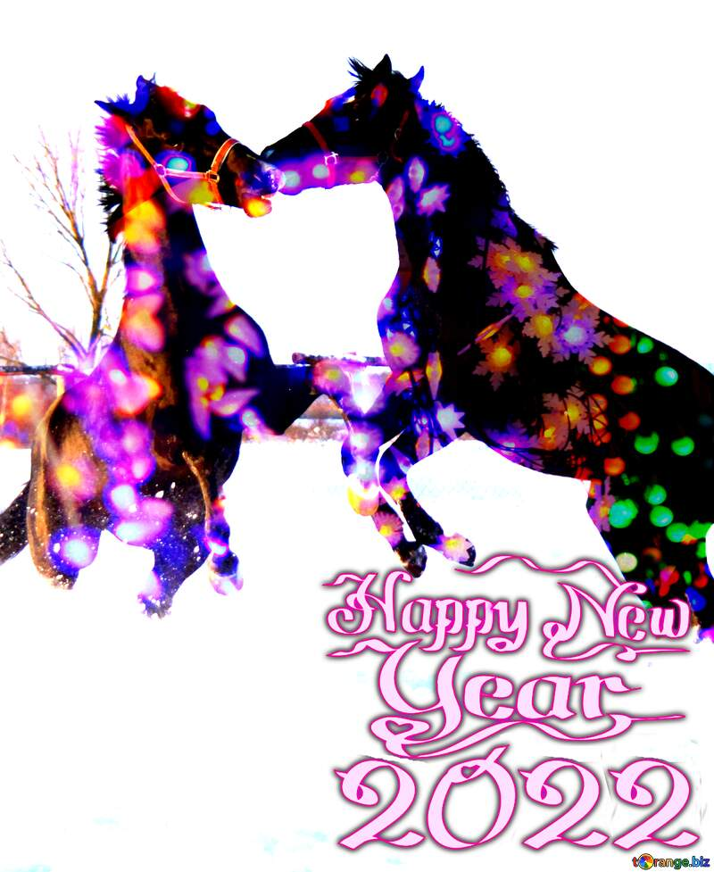 Happy New Year 2022 card with horse №3964