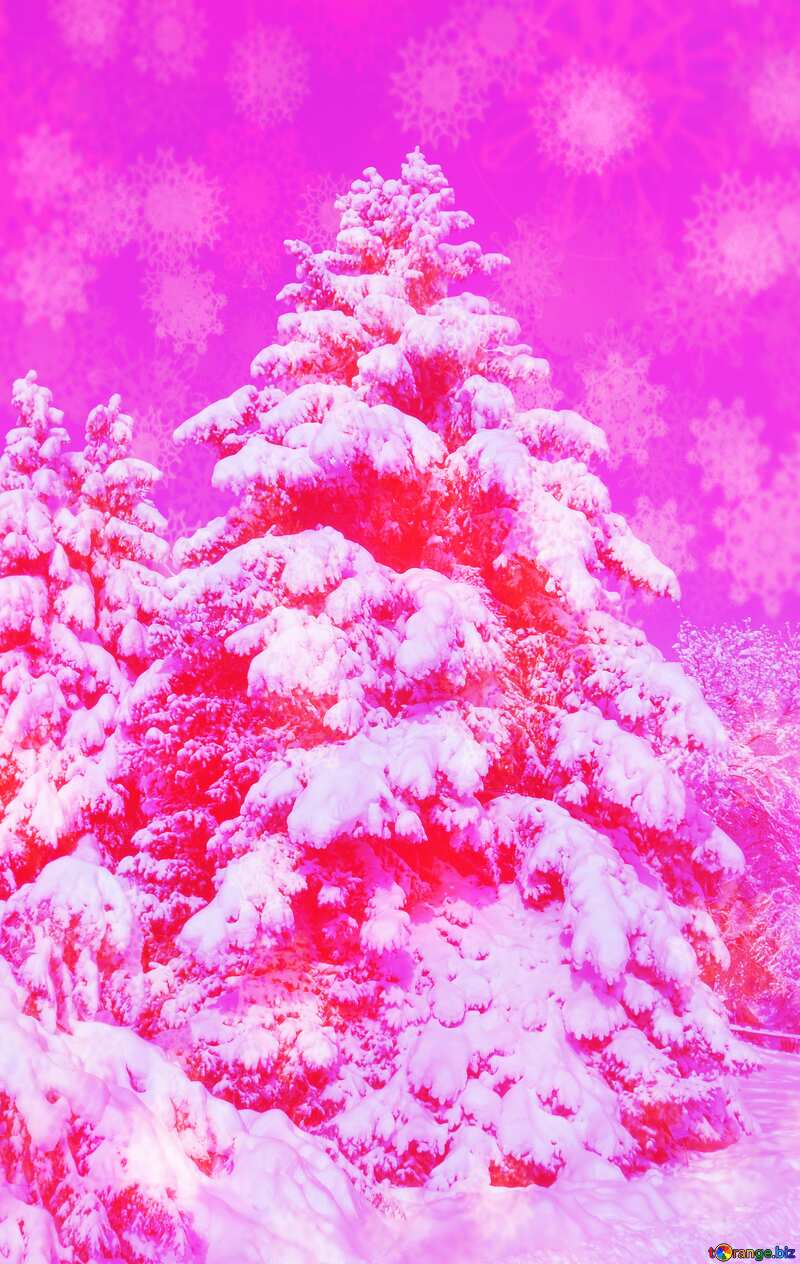 Pink snowy forest №10550