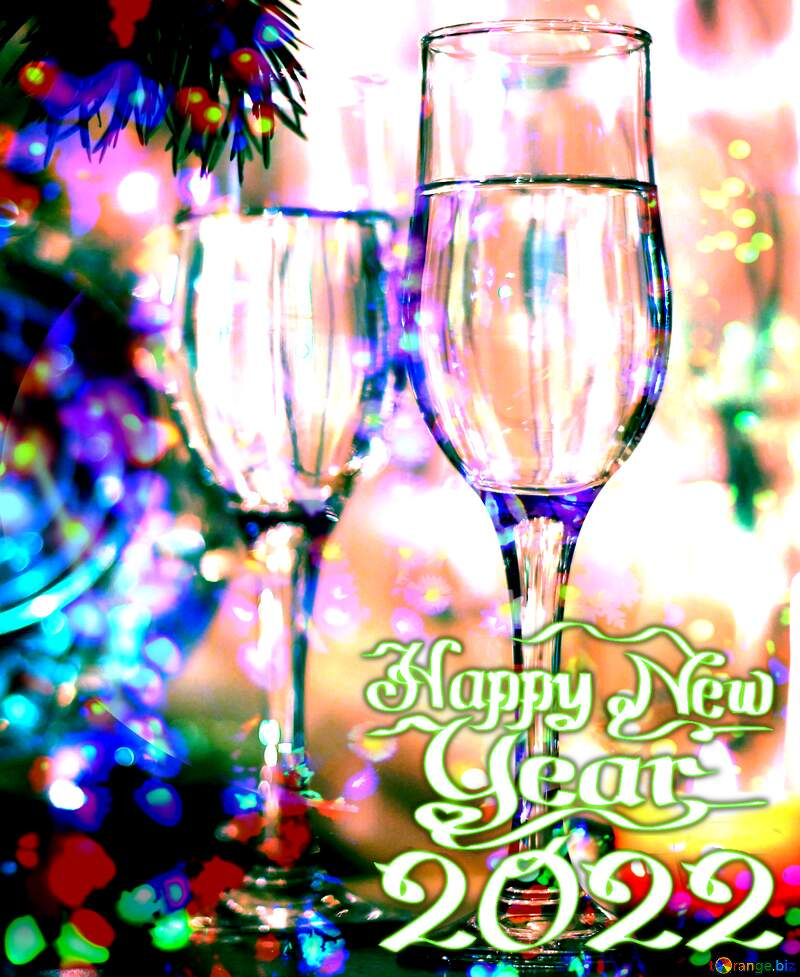 Happy New Year 2021  Colored lights background №24683