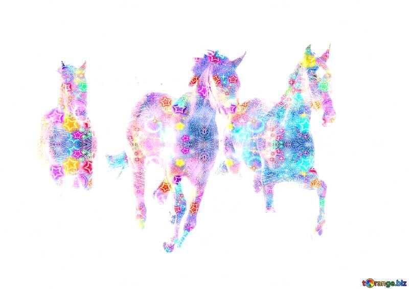 Three colorful horses  №3981