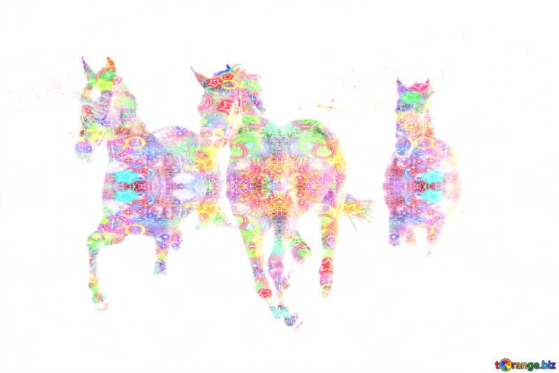 Three horses colorful №3981