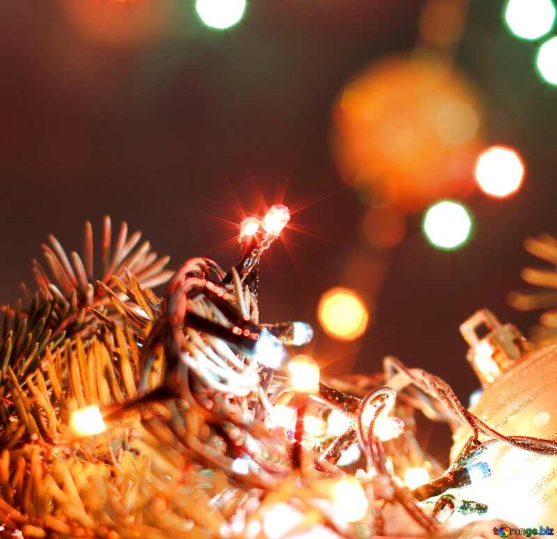 Новогодние огни, елка, экран №17950