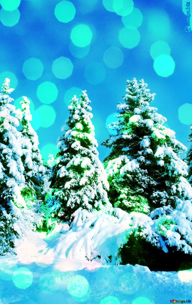 Christmas Tree sun Snow bokeh background №10576