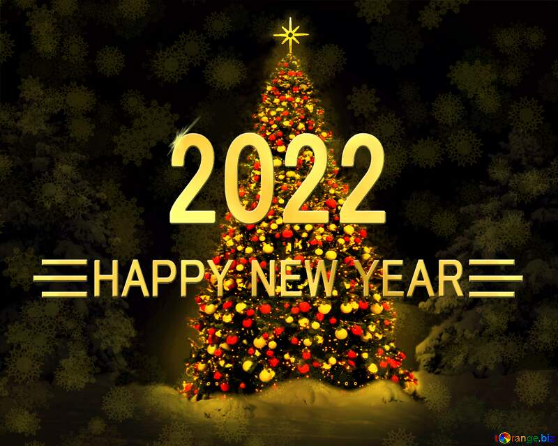 Christmas tree Shiny happy new year 2022 background №40739