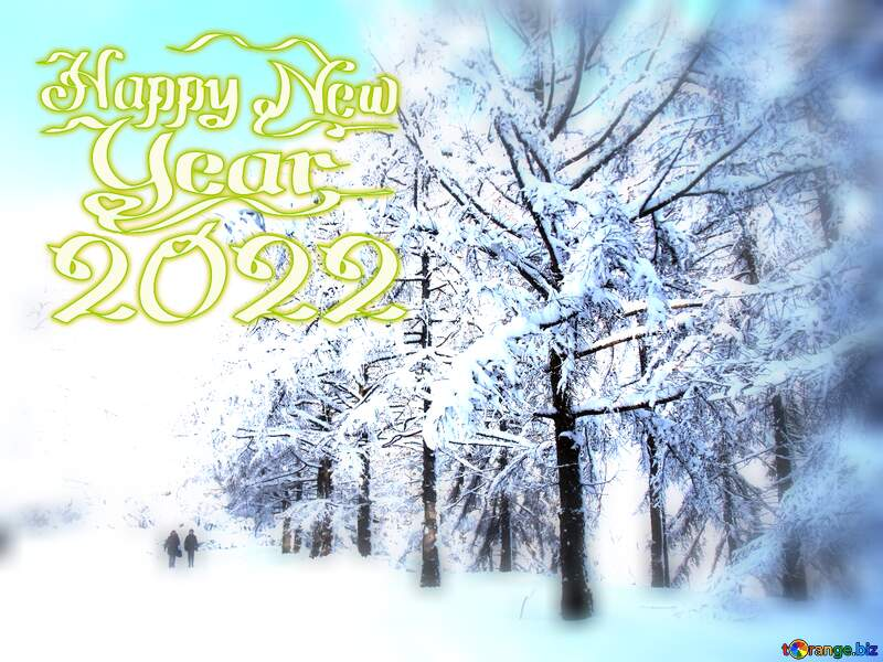 snow forest christmas card happy new year 2021 №10568