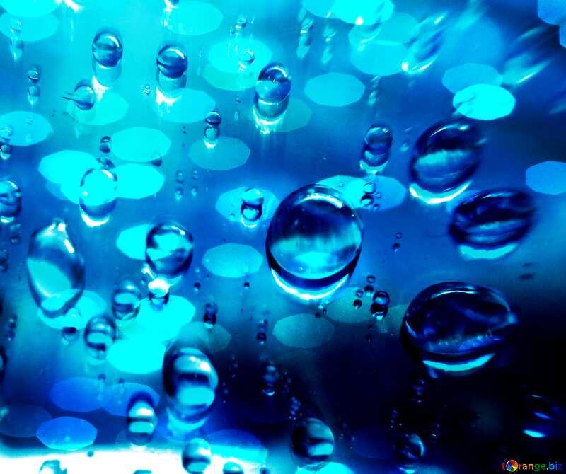 Raindrops blue background     №47981