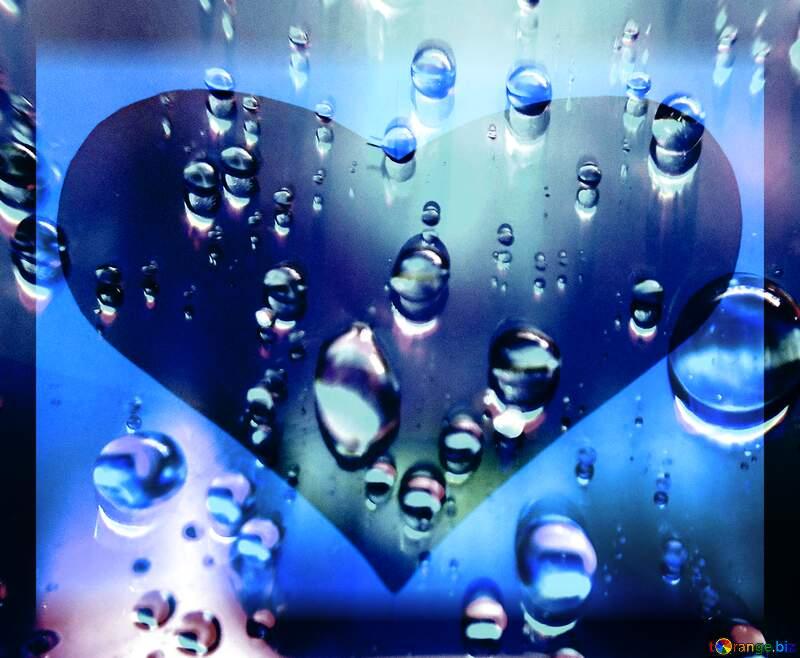 Raindrops love heart background     №47981