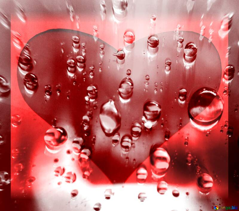 Raindrops love red heart background  №47981